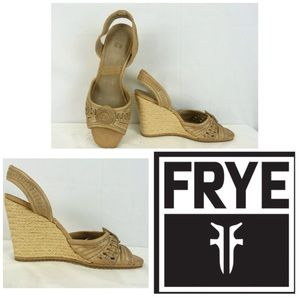 FRYE LEATHER PATRICIA CONCHO WEDGE ESPADRILLES